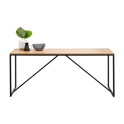 Macy Wood & Stainless Steel Dining Table, 180cm