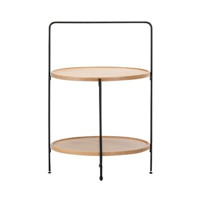 Tae Wood & Stainless Steel Round Tray Top Side Table, Beech / Black