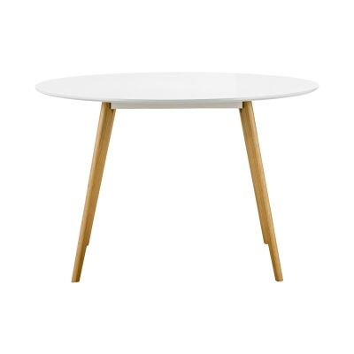 Floasen Scandi Wooden Round Dining Table, 120cm, White / Natural