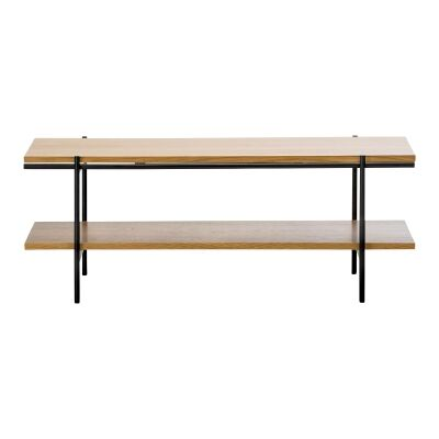 Xaviar Dual Shelf Coffee Table, 110cm, Oak / Black