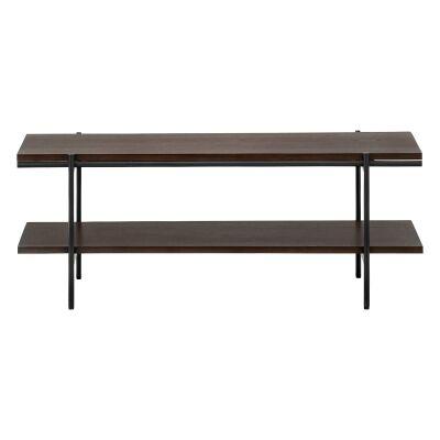 Xaviar Dual Shelf Coffee Table, 110cm, Dark Walnut / Black
