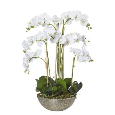 Artificial Phalaenopsis Orchid in Metal Bowl Planter
