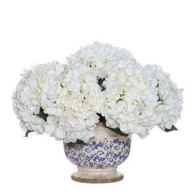 Artificial Hydrangea in Fleur Footed Bowl