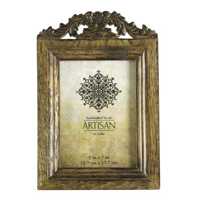 Kota Hand Carved Mango Wood Photo Frame, 5x7""