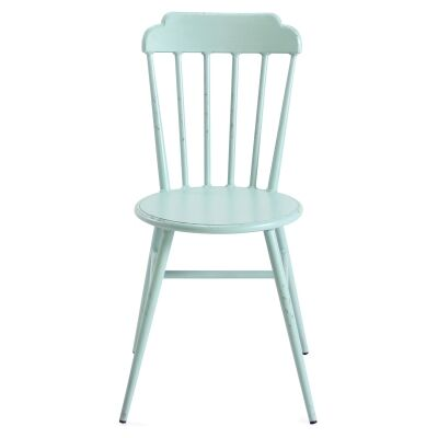 Set of 2 Windsor Commercial Grade Aluminium Indoor / Outdoor Dining Chairs, Rustic Duck Egg Blue