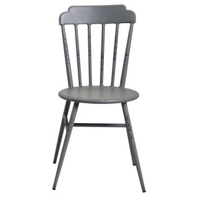 Set of 2 Windsor Commercial Grade Aluminium Indoor / Outdoor Dining Chairs, Rustic Grey