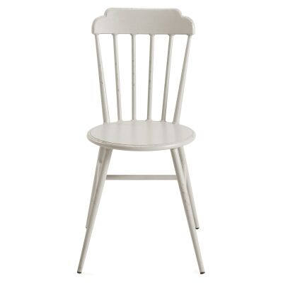 Set of 2 Windsor Commercial Grade Aluminium Indoor / Outdoor Dining Chairs, Rustic White