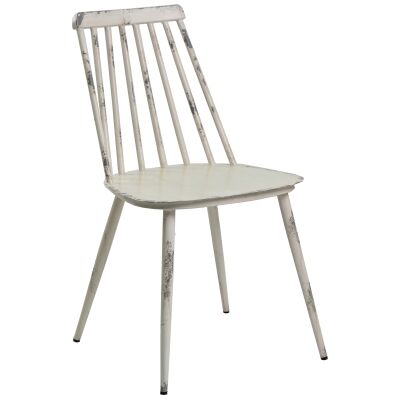 Set of 2 Forster Commercial Grade Aluminium Indoor / Outdoor Dining Chairs, Rustic White