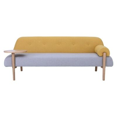 Lusso Commercial Grade Fabric Sofa / Daybed, 3 Seater, Mustard / Light Grey