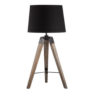 Surveyor Classic Timber Tripod Table Lamp, Dark Oak / Black