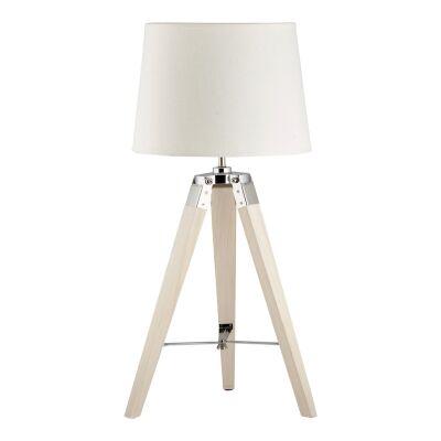 Surveyor Classic Timber Tripod Table Lamp, White Oak / Off White