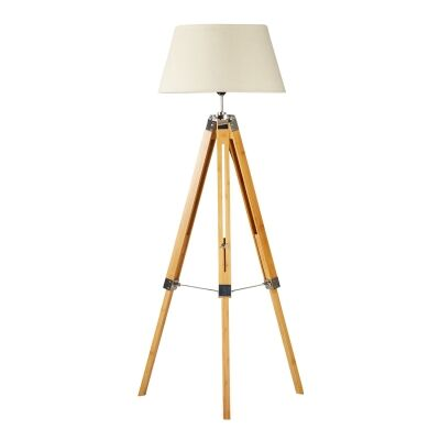 Surveyor Classic Timber Tripod Floor Lamp, Natural / Beige