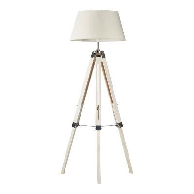 Surveyor Classic Timber Tripod Floor Lamp, White / Off White