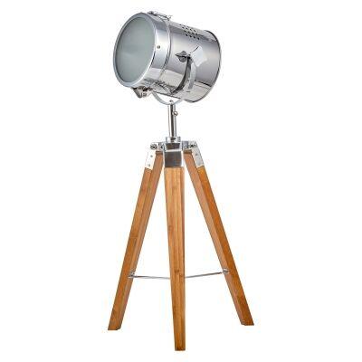 Beacon Timber Tripod Spotlight Table Lamp, Natural / Chrome