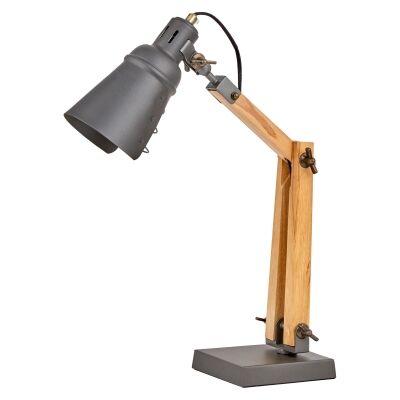 Lorrison Metal & Timber Adjustable Desk Lamp, Grey / Natural