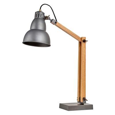 Bloomberg Metal & Timber Adjustable Desk Lamp, Grey / Natural