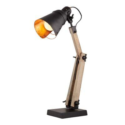 Lorrison Metal & Timber Adjustable Desk Lamp, Black / Dark Oak