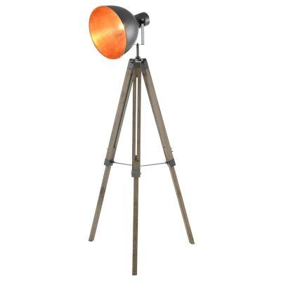 Morrison Timber Tripod Studio Floor Lamp, Grey Oak / Charcoal