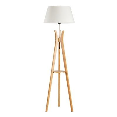 Elena Timber Tripod Floor Lamp, Natural / Off White