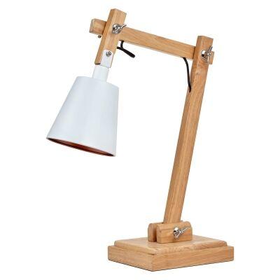 Alex Metal & Timber Adjustable Desk Lamp, White / Natural