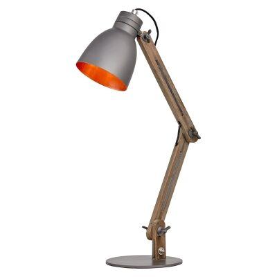 Jacob Metal & Timber Adjustable Desk Lamp, Grey / Dark Oak