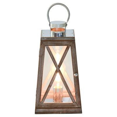 Harbourside Timber & Glass Lantern Lamp, Dark Oak