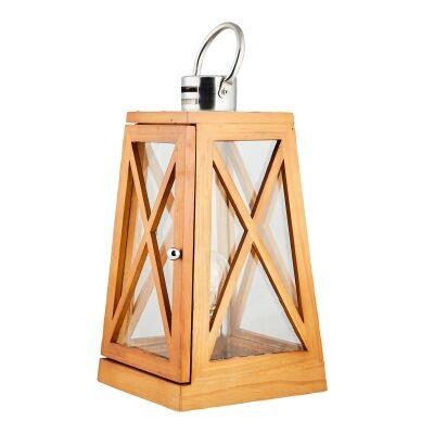 Harbourside Timber & Glass Lantern Lamp, Natural