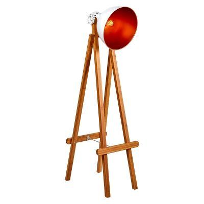 Laurieton Metal & Bamboo Floor Lamp, Natural / White