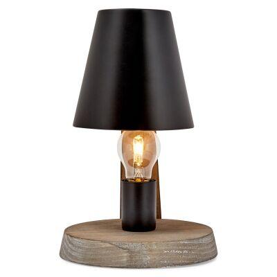 Herons Metal & Timber Table Lamp, Weathered Natural / Black