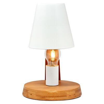 Herons Metal & Bamboo Table Lamp, Natural / White