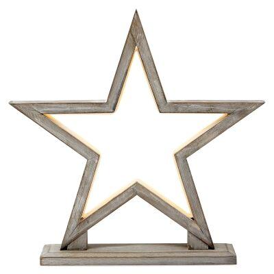 Bilto Bamboo LED Table Lamp, Small Star, Grey Wash