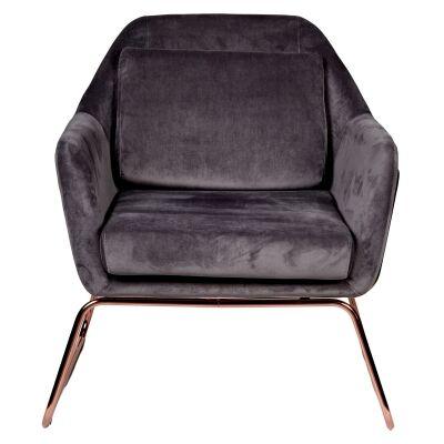 Marco Velvet Fabric Armchair, Dark Grey / Rose Gold