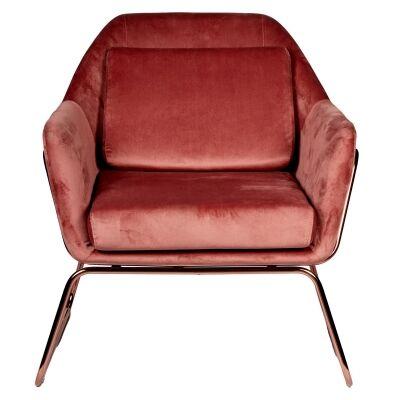 Marco Velvet Fabric Armchair, Blush / Rose Gold
