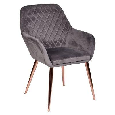 Olivia Velvet Fabric Dining Armchair, Dark Grey / Rose Gold