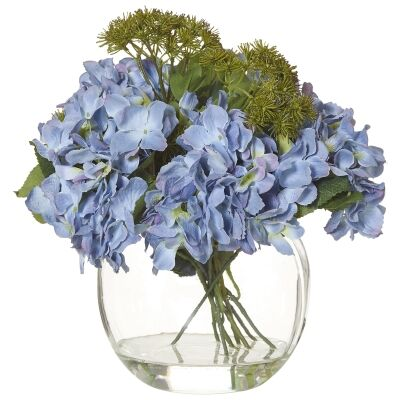Artificial Hydrangea Meadow Rue Mix in Glass Fish Bowl, Large, Blue Flower