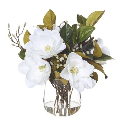 Artificial Magnolia Flower in Greta Vase