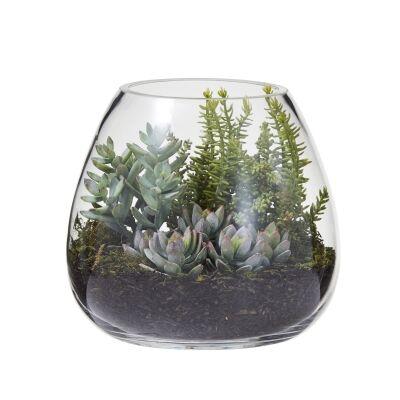 Artificial Succulent Garden in Garden Glass Vase