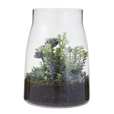Artificial Crassula Succulent Garden in Stella Glass Vase