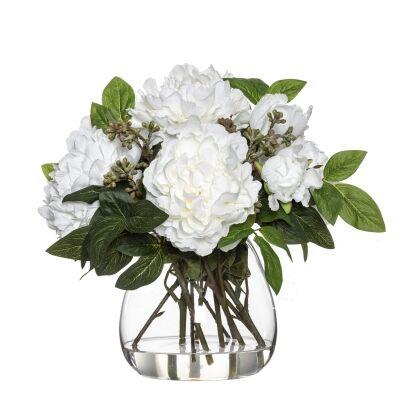 Artificial Joker Peony in Garden Vase, White Flower