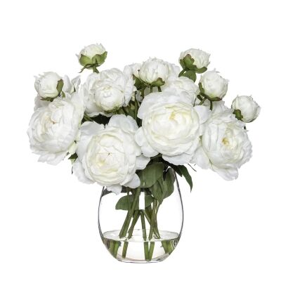 Artificial Hawaiian Coral Peony in Claire Vase, White Flower