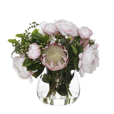 Artificial King Protea & Peony Mix in Garden Vase, Pink Flower