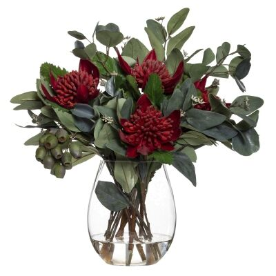 Artificial Waratah Mix in Claire Vase, Small