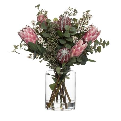 Artificial Native Mix in Pail Vase, Pink Flower