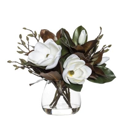 Artificial Magnolia Grand Flower Mix in Garden Vase