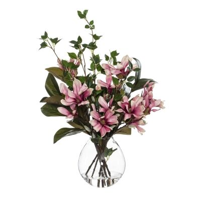 Artificial Magnolia Mix in Cannonball Vase, Pink Flower