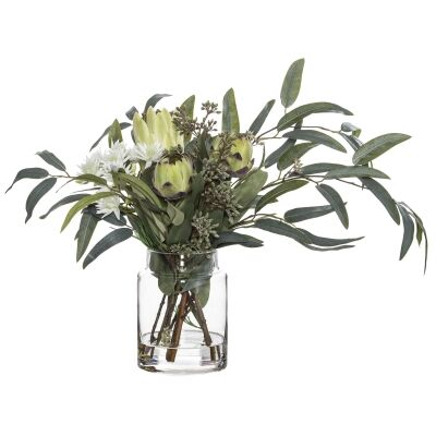 Artificial Native Plant Mix in Pail Vase, White Flower, Small