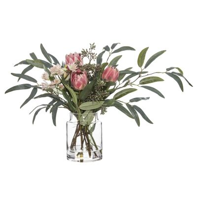 Artificial Native Plant Mix in Pail Vase, Pink Flower, Small