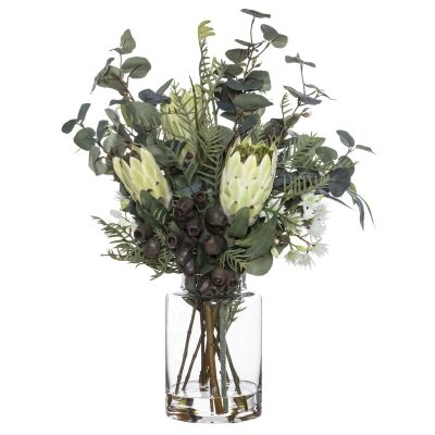 Artificial Native Plant Mix in Pail Vase, White Flower, Large