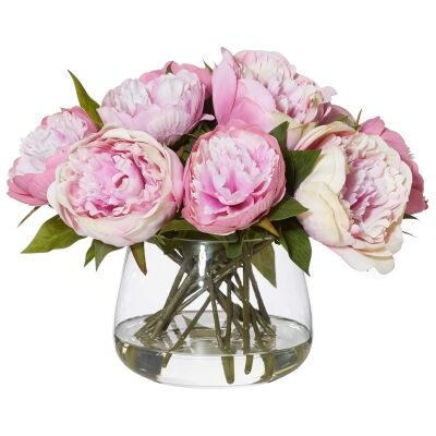 Artificial Peony in Rounded Classic Bowl, Large, Light Mauve Flower