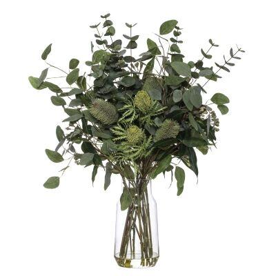 Artificial Banksia & Eucalyptus Mix in Audrey Vase, Green Flower